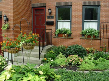 Window boxes, flower pots and widened foundation gardens