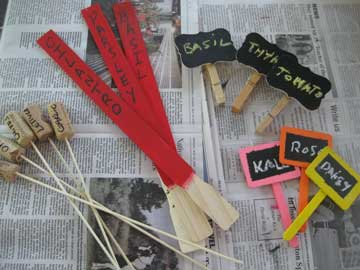 Plant markers from paint sticks